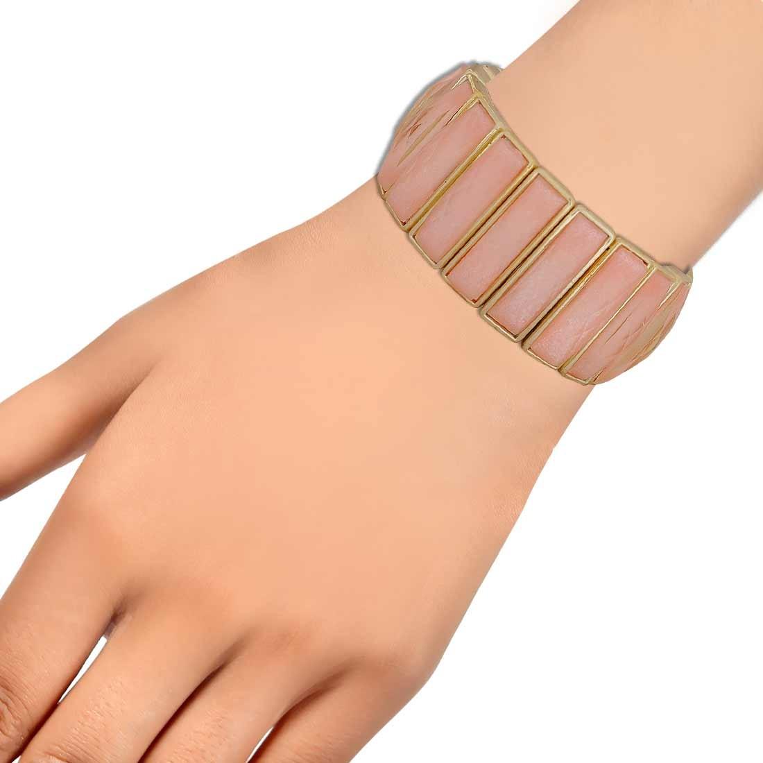 Beautiful Off-White Silver Designer Adjustable Get-together Bracelet Alloy Maayra MY6894
