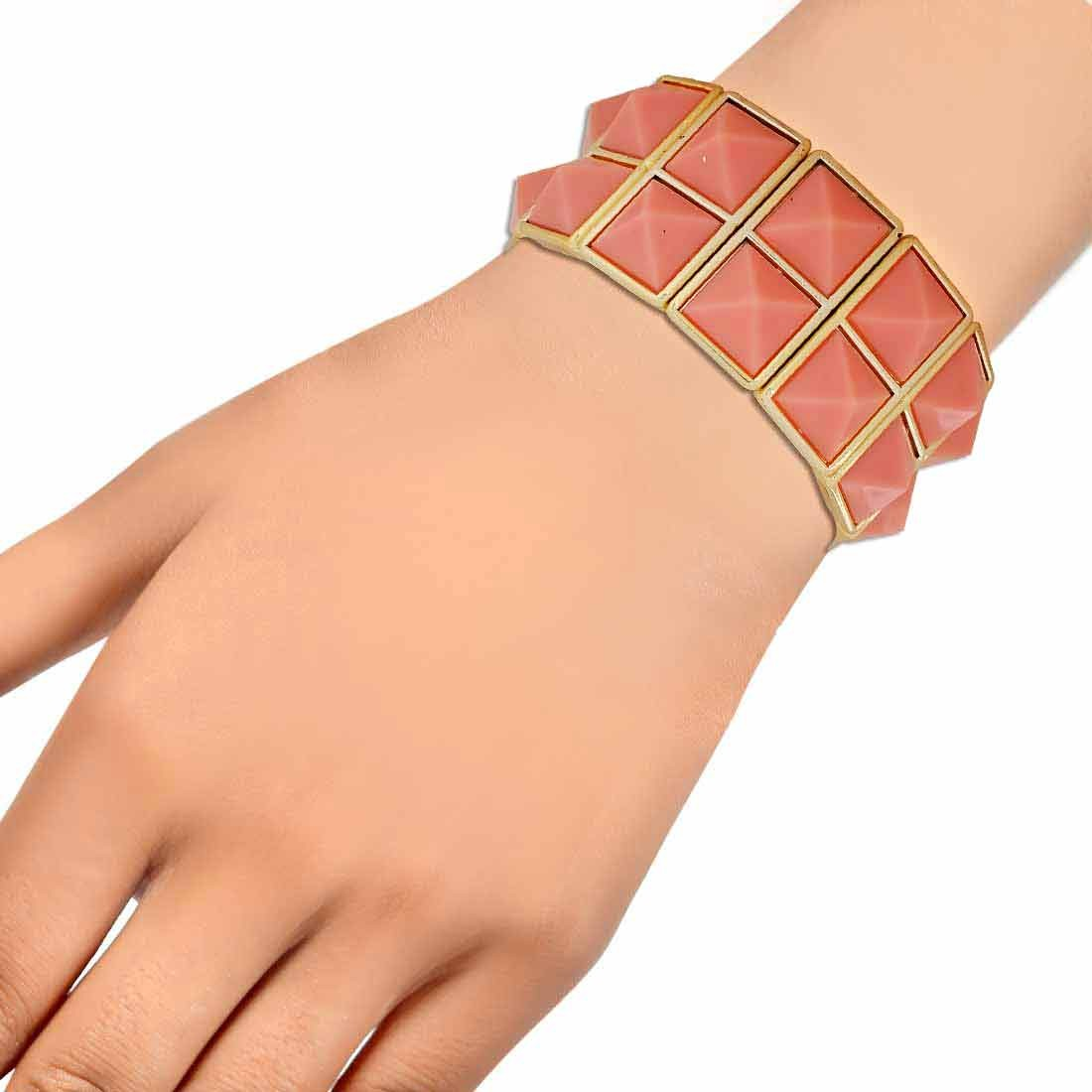 Trendy Pink Gold Contemporary Adjustable College Bracelet Alloy Maayra MY6897