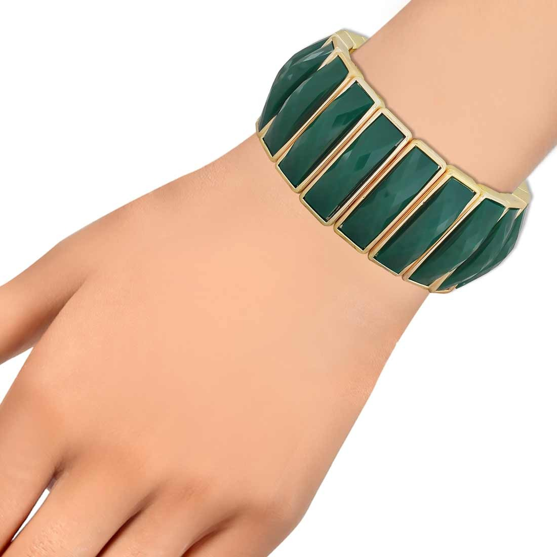 Posh Green Gold Contemporary Adjustable Party Size Bracelet Alloy Maayra MY6898