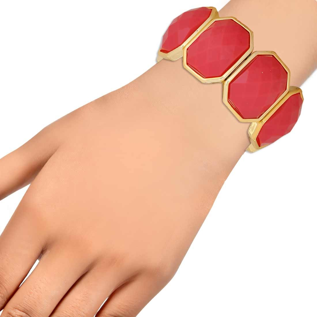 Bright Pink Gold Contemporary Adjustable Cocktail Bracelet Alloy Maayra MY6899
