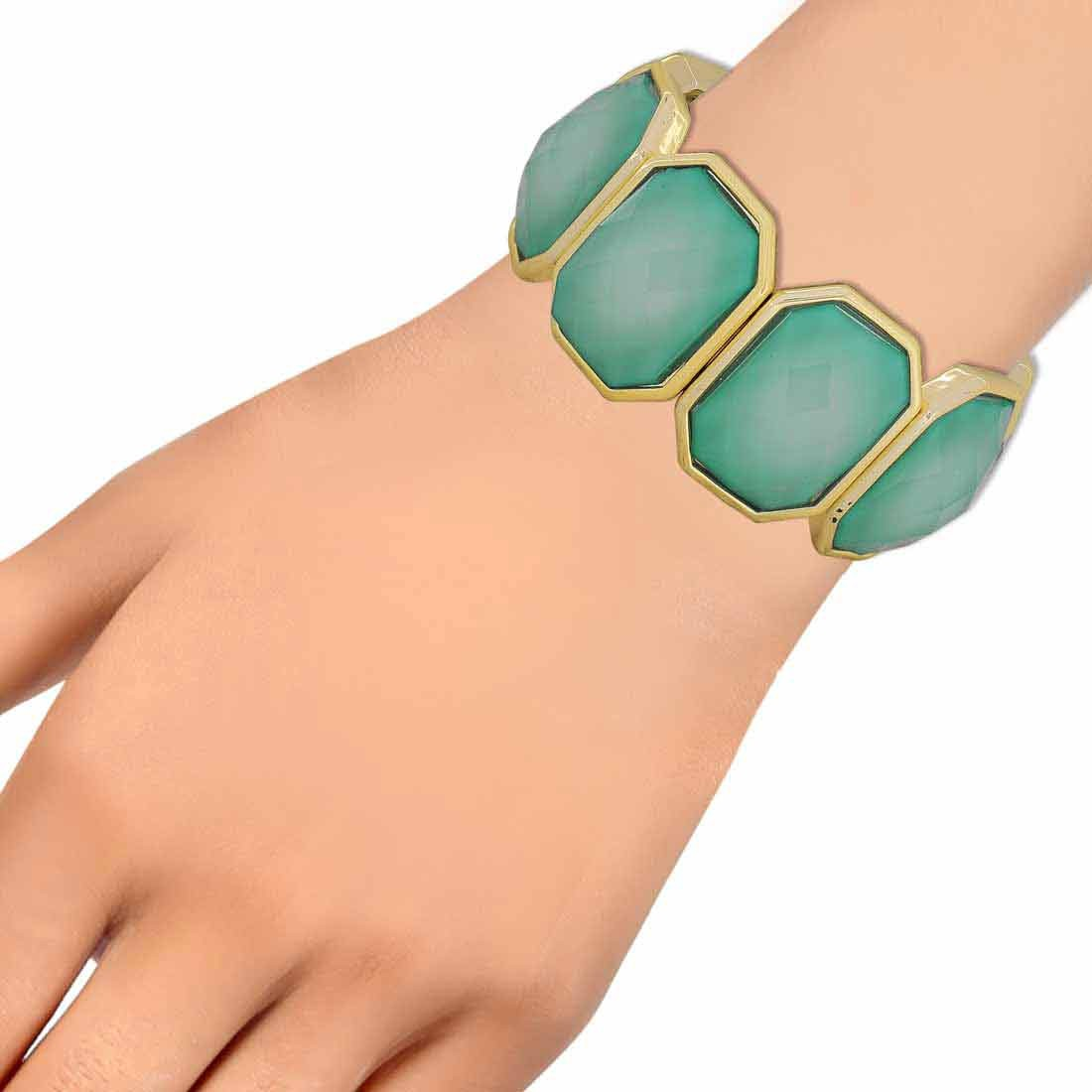 Hot Blue Gold Contemporary Adjustable Party Size Bracelet Alloy Maayra MY6904
