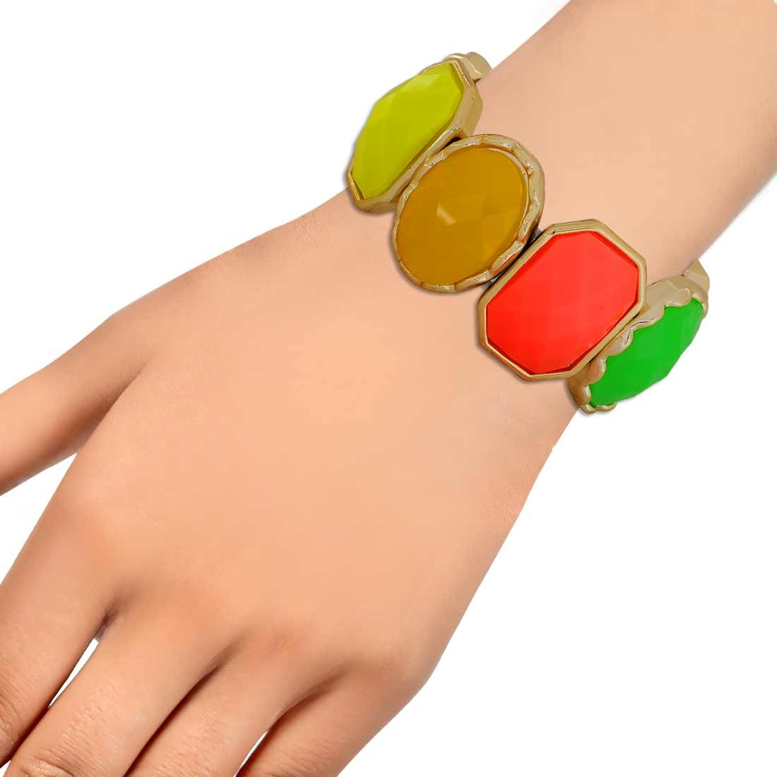 Plush Multicolor Contemporary Adjustable College Bracelet Alloy Maayra MY6909