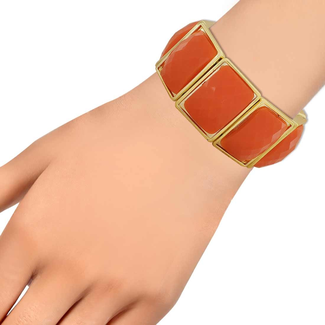 Special Orange Contemporary Adjustable Cocktail Bracelet Alloy Maayra MY6911