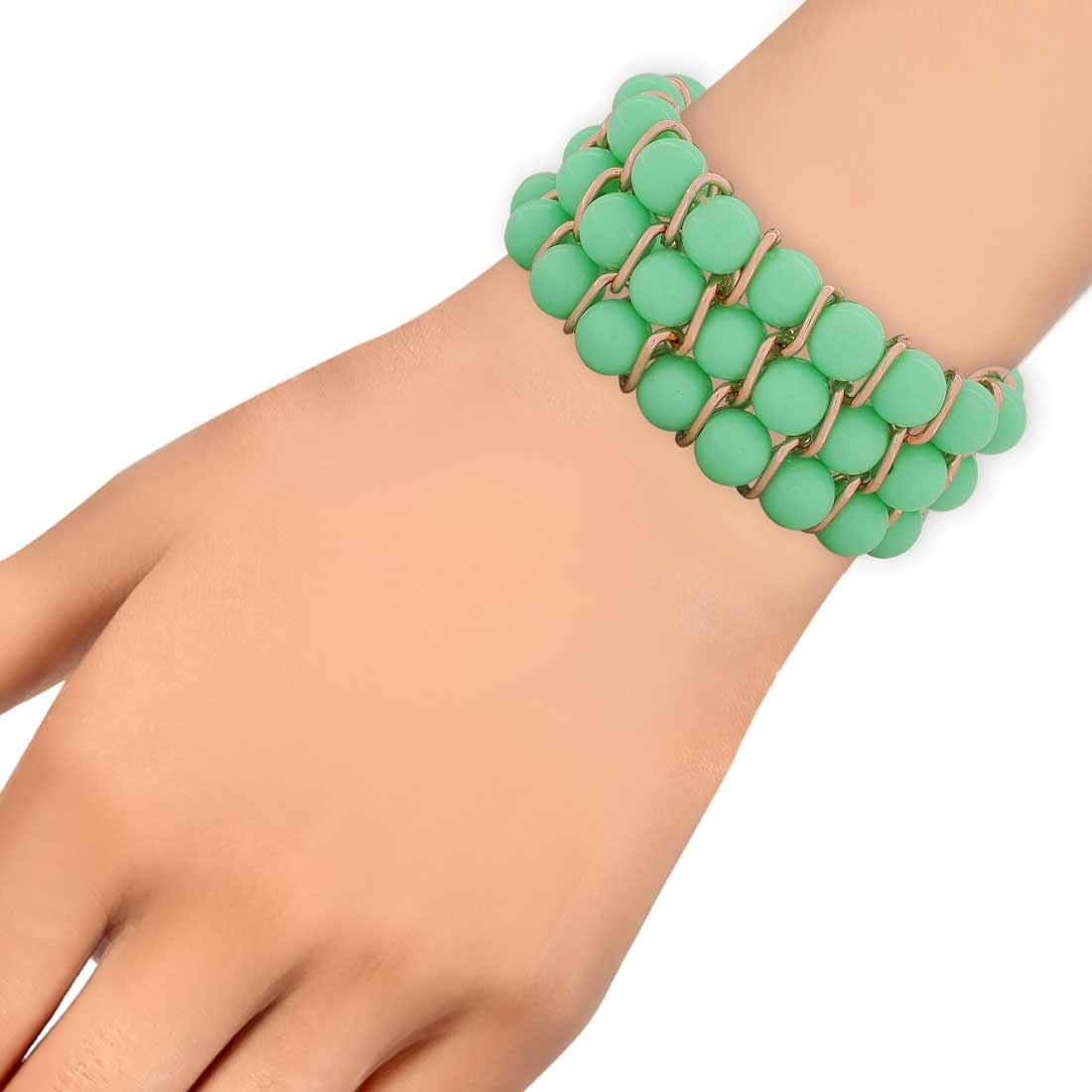 Amazing Green Bronze Adjustable Get-together Bracelet Alloy Maayra MY6912
