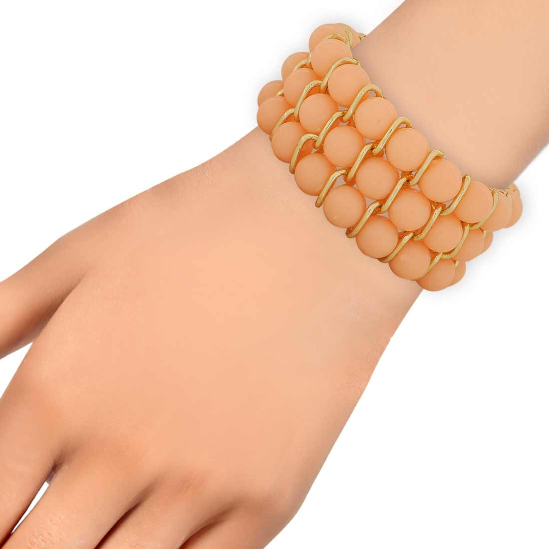 Cute Orange Gold Contemporary Adjustable Dailywear Bracelet Alloy Maayra MY6914