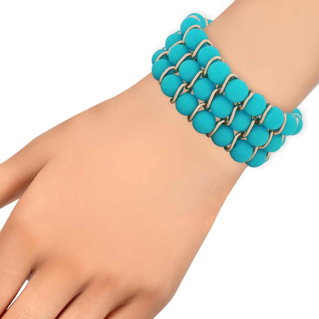 Simple Blue Bronze Contemporary Adjustable College Bracelet Alloy Maayra MY6915