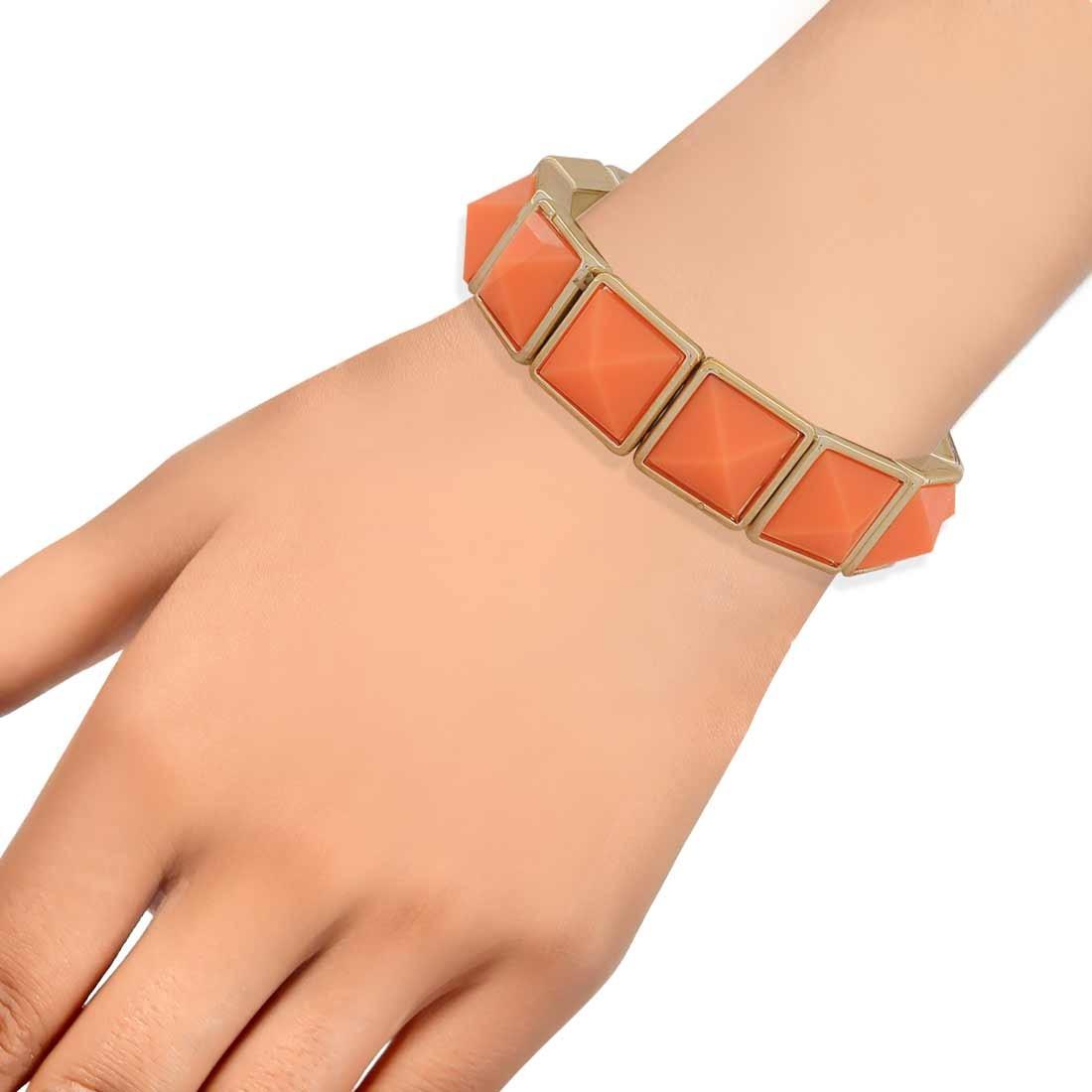 Sensual Orange Contemporary Adjustable College Bracelet Alloy Maayra MY6921