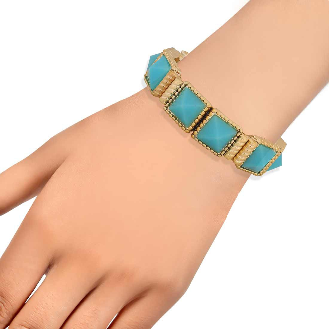 Classy Blue Contemporary Adjustable Cocktail Size Bracelet Alloy Maayra MY6923