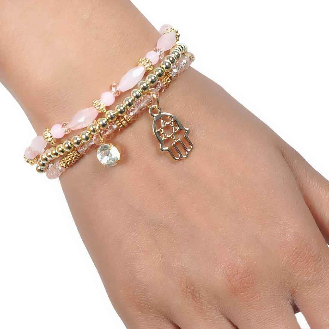 Sexy Pink Gold Designer Adjustable Get-together Bracelet Alloy Maayra MY6924
