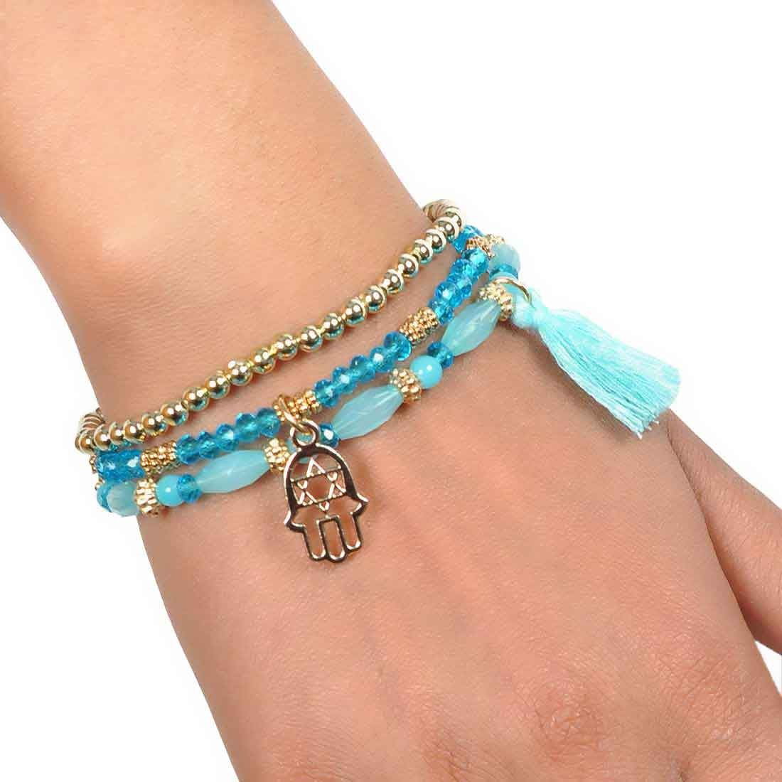 Class Blue Gold Contemporary Adjustable Reunion Bracelet Alloy Maayra MY6925
