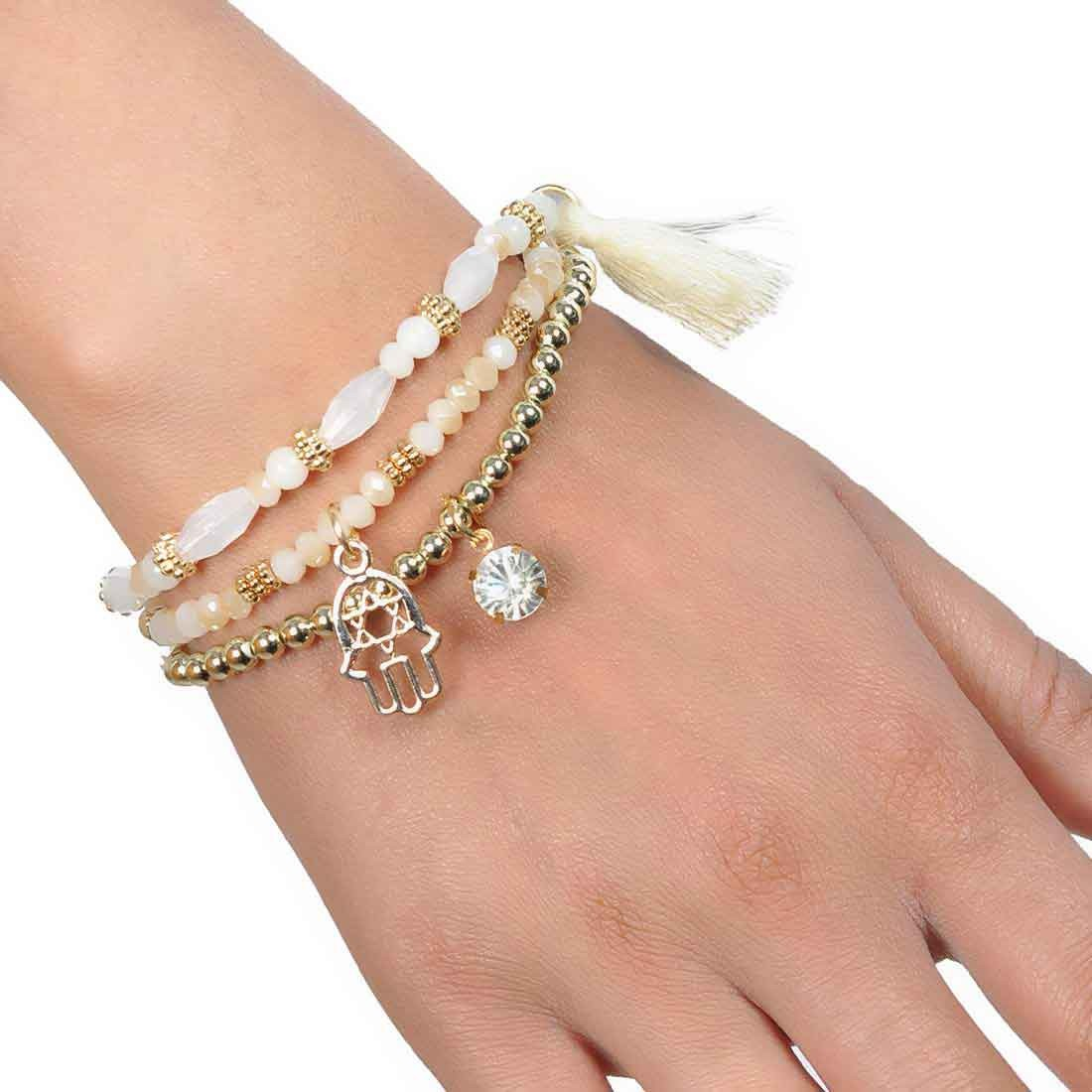 Terrific White Gold Designer Adjustable College Bracelet Alloy Maayra MY6927