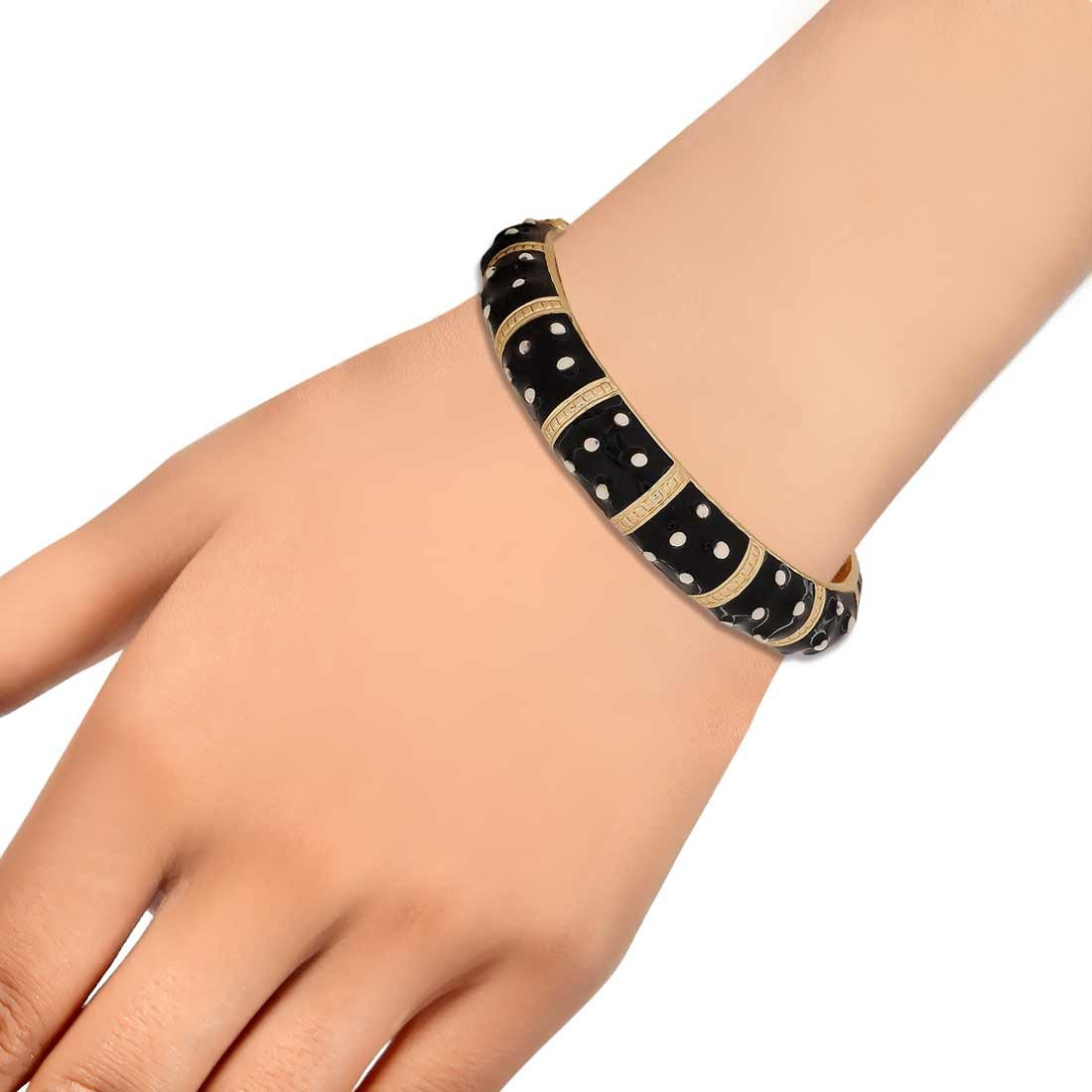 Classic Black Gold Contemporary Adjustable Casualwear Kada Alloy Maayra MY6938
