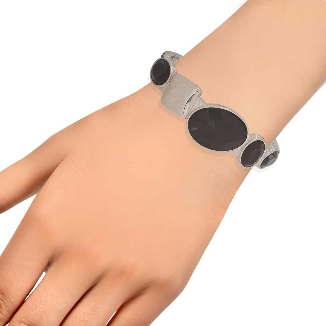 Lively Black Silver Designer Adjustable Get-together Kada Alloy Maayra MY6942