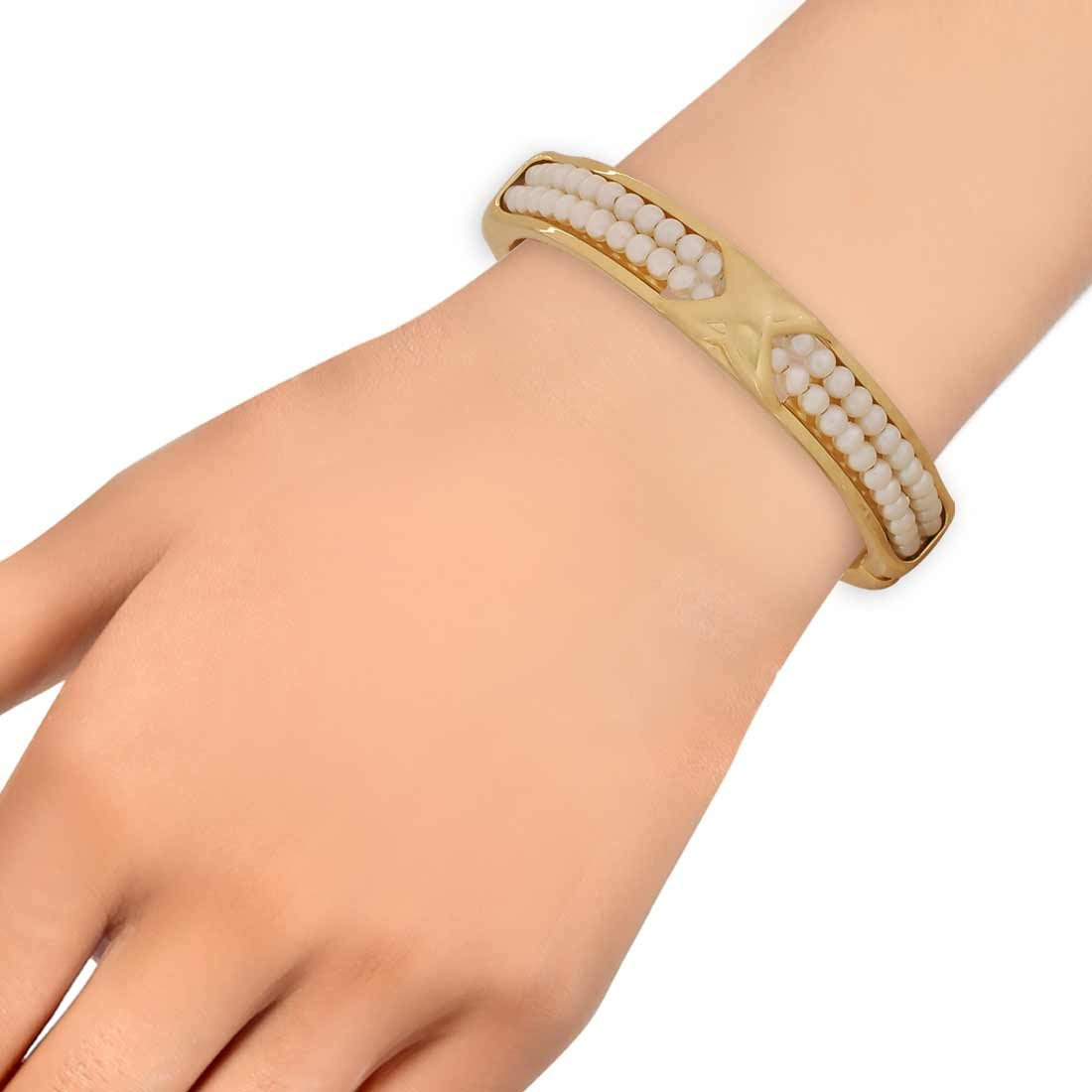 Lovely White Gold Contemporary Adjustable Party Size Kada Alloy Maayra MY6946