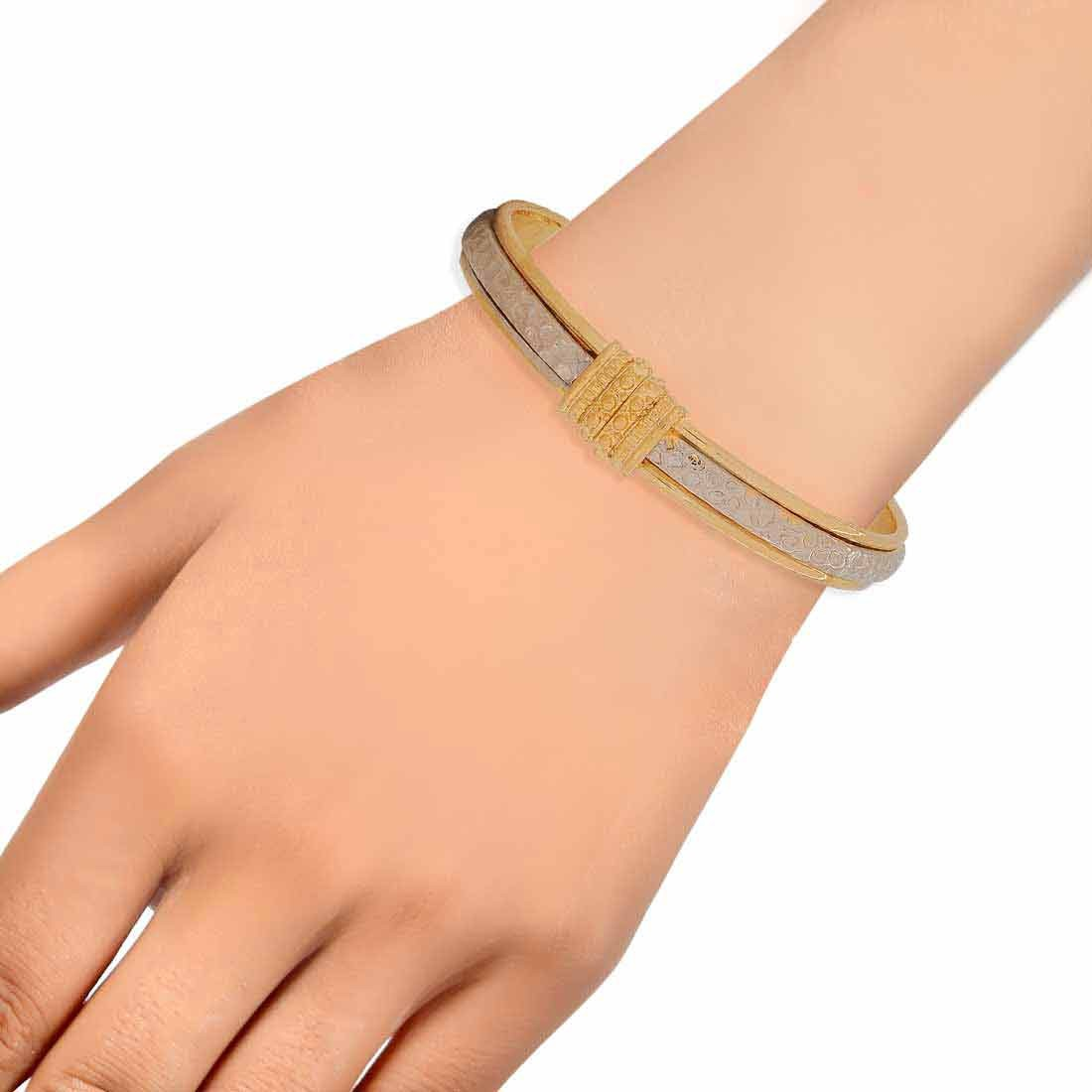 Exquisite Silver Gold Contemporary Adjustable Reunion Kada Alloy Maayra MY6949