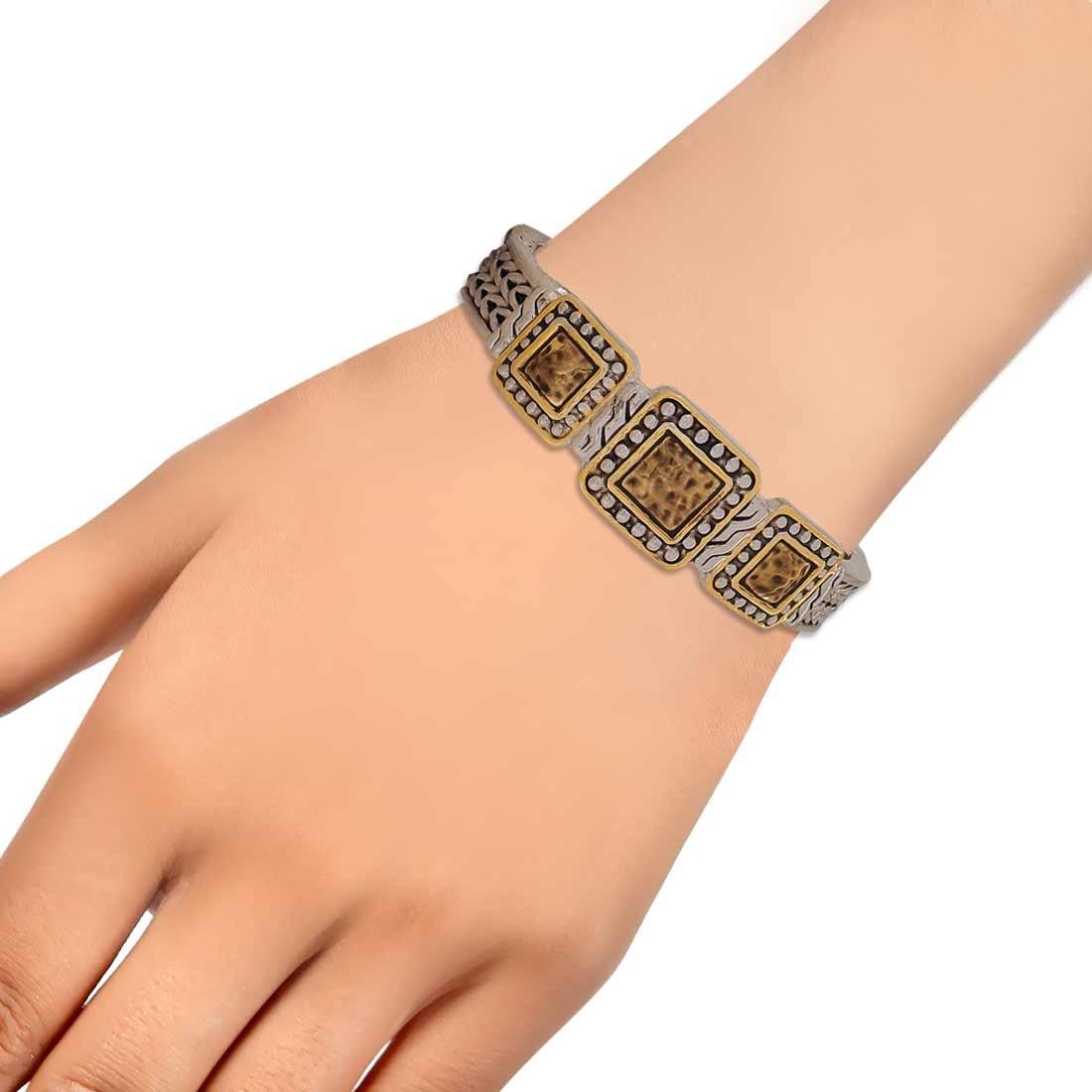 Plush Gold Silver Contemporary Adjustable Casualwear Kada Alloy Maayra MY6962