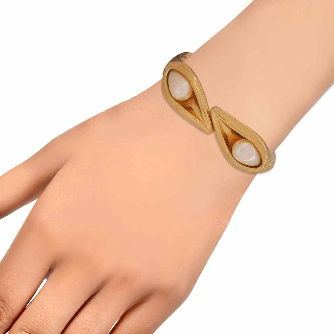Modern White Gold Contemporary Adjustable College Size Kada Alloy Maayra MY6963