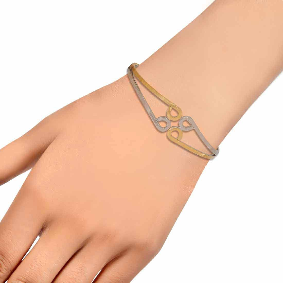 Special Silver Gold Contemporary Adjustable Party Size Cuff Alloy Maayra MY6964