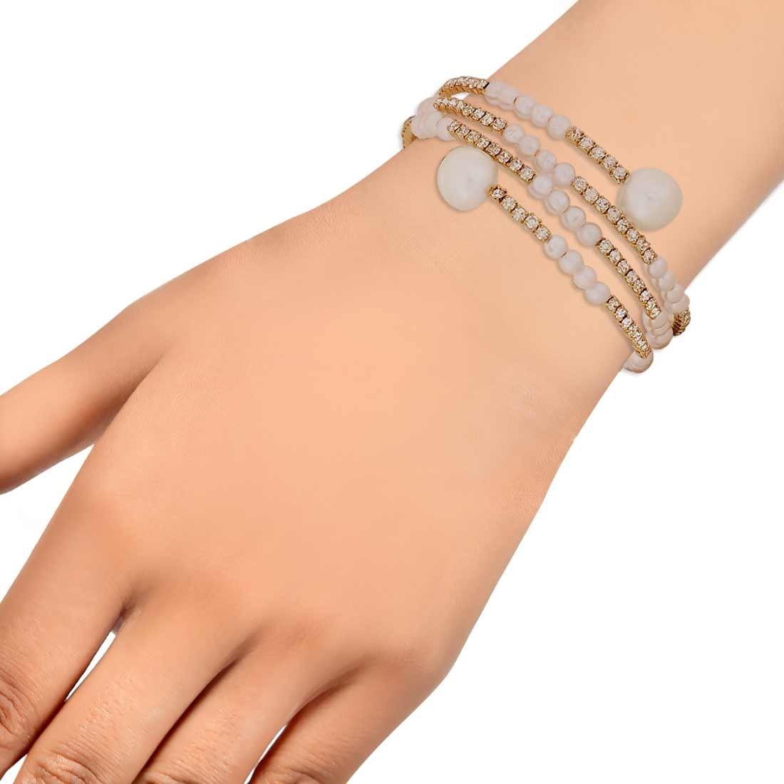 Gorgeous White Gold Designer Adjustable Reunion Bracelet Alloy Maayra MY6973