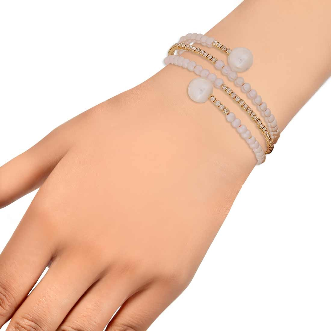 Sensual White Gold Designer Adjustable Dailywear Bracelet Alloy Maayra MY6974