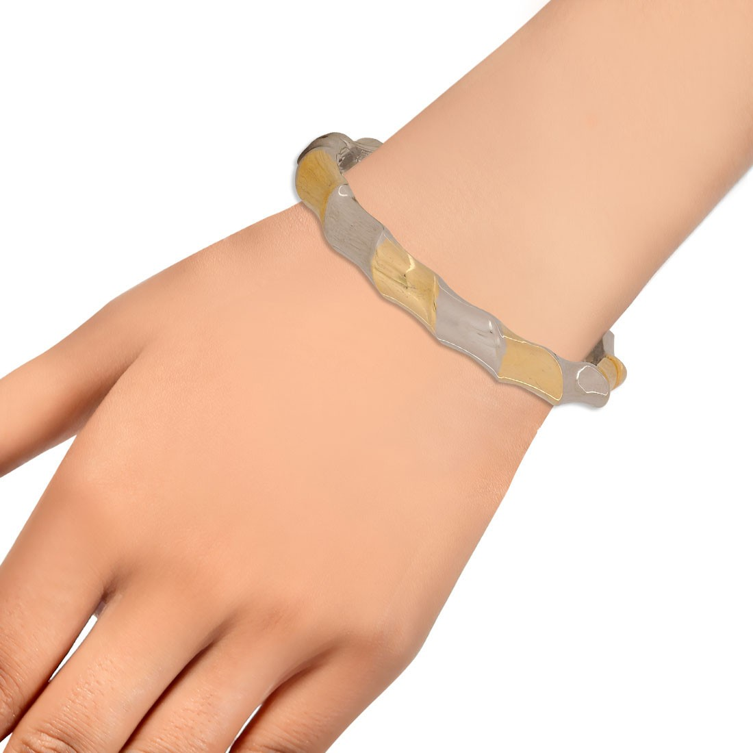 Fabulous Gold Silver Contemporary Adjustable Party Cuff Alloy Maayra MY6982