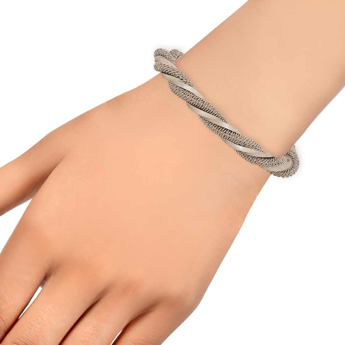 Smart Silver Contemporary Adjustable Cocktail Size Cuff Alloy Maayra MY7637