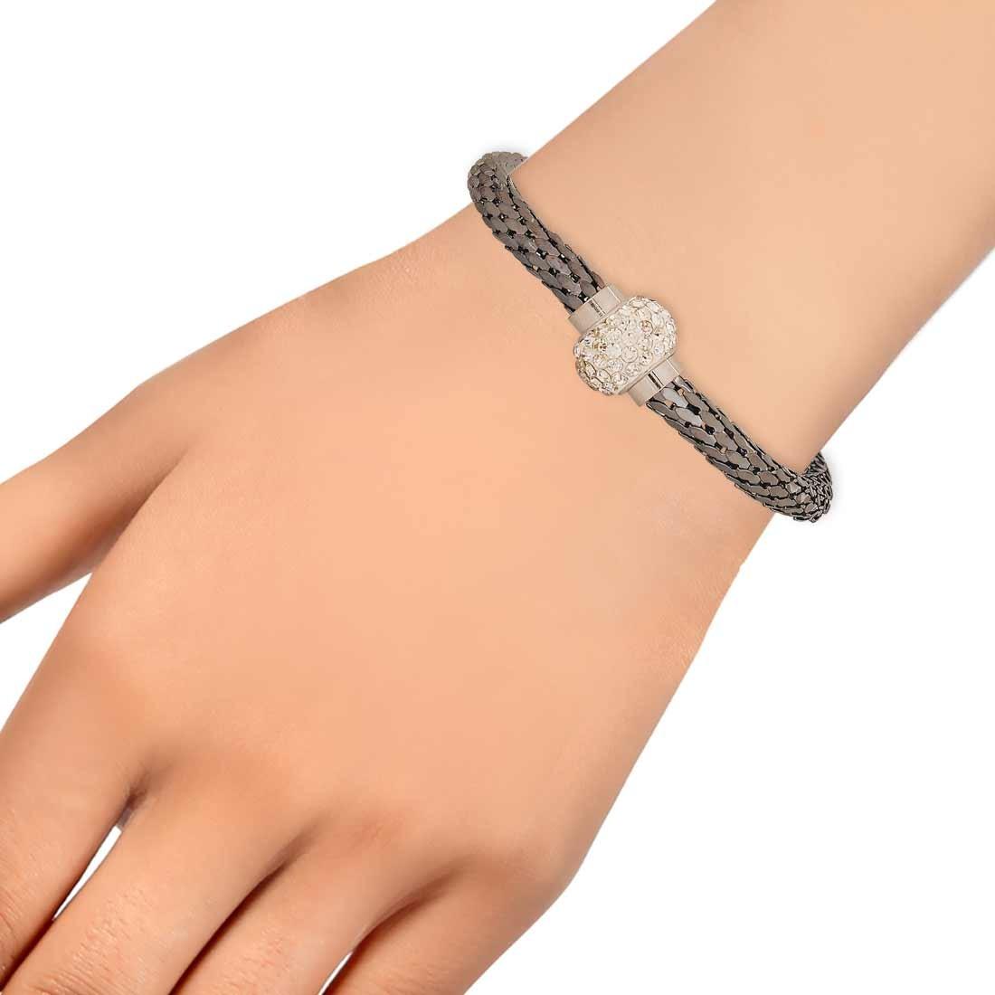 Elegant Silver White Adjustable Get-together Bracelet Alloy Maayra MY7638
