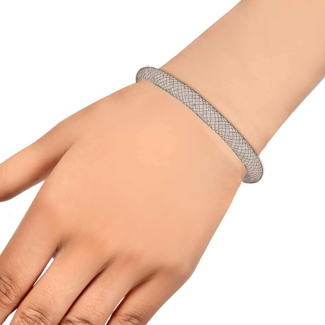 Classic Silver Jaali Work Adjustable Reunion Size Bracelet Alloy Maayra MY7639