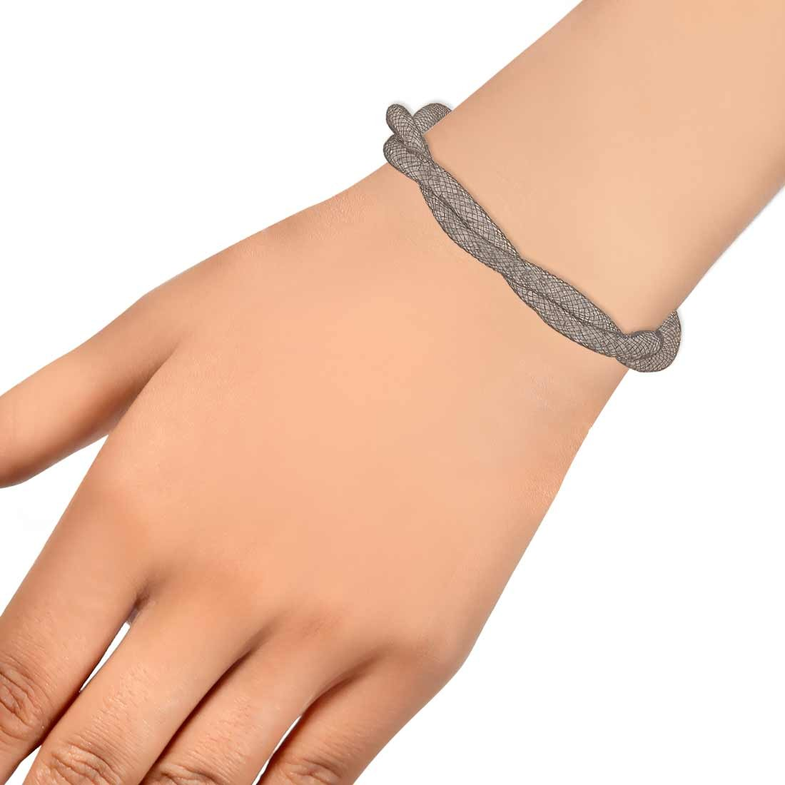 Sparkling Silver Jaali Work Adjustable Casualwear Bracelet Alloy Maayra MY7640