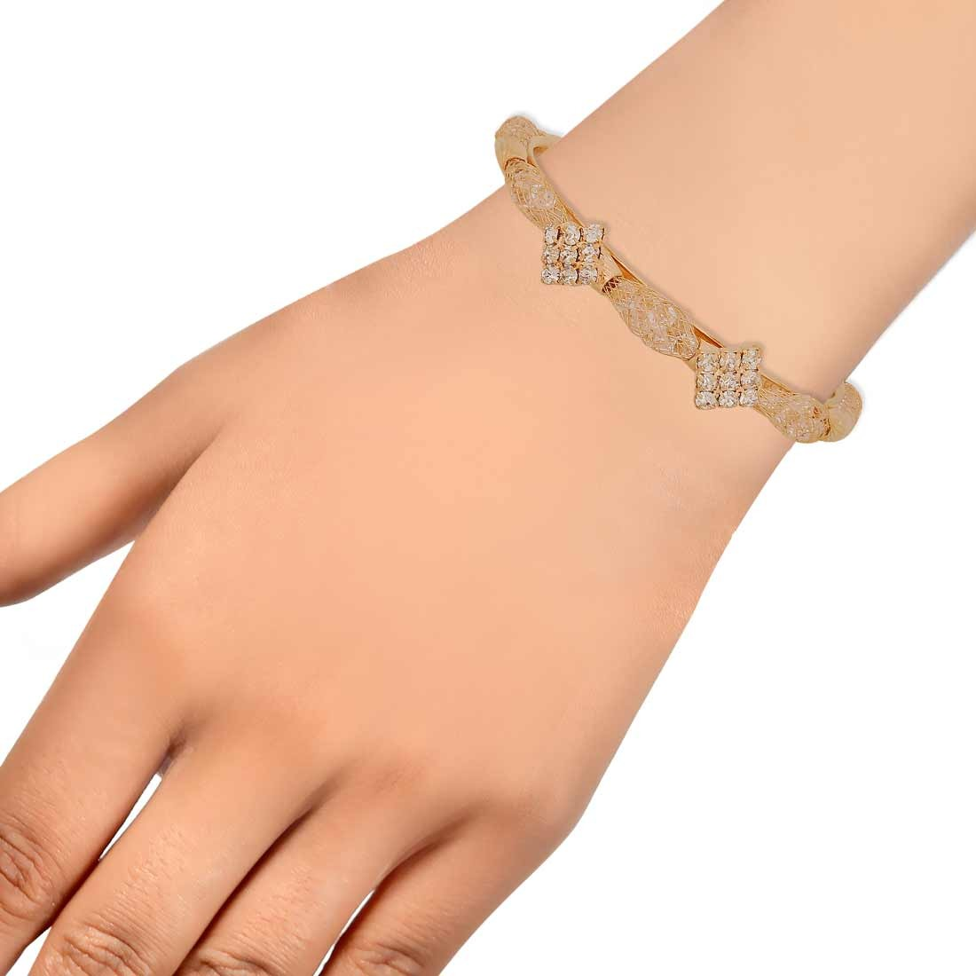 Lively Gold Jaali Work Adjustable Cocktail Size Cuff Alloy Maayra MY7643