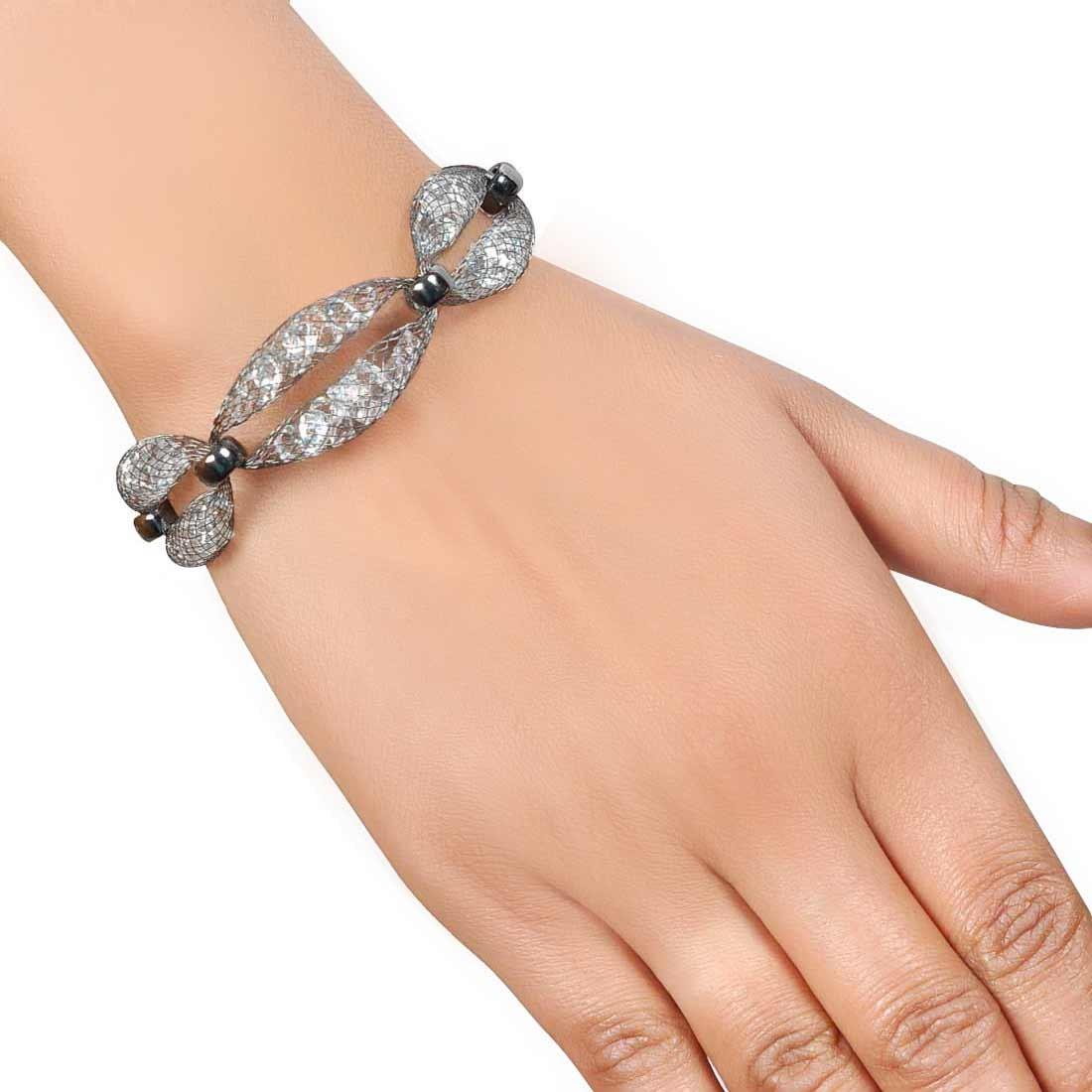 Artistic Silver Jaali Work Adjustable Casualwear Bracelet Alloy Maayra MY7646