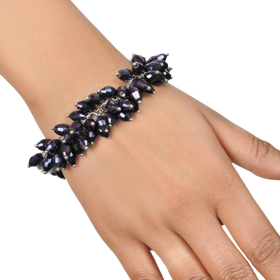 Beautiful Grey Designer Adjustable Party Size Bracelet Alloy Maayra MY7648