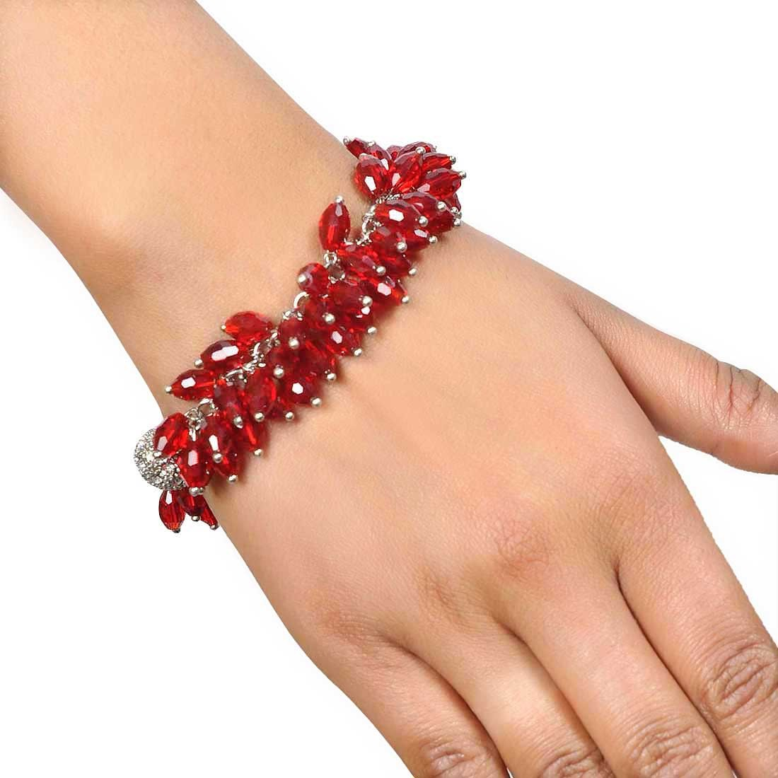 Grand Red Silver Designer Adjustable Cocktail Size Bracelet Alloy Maayra MY7649