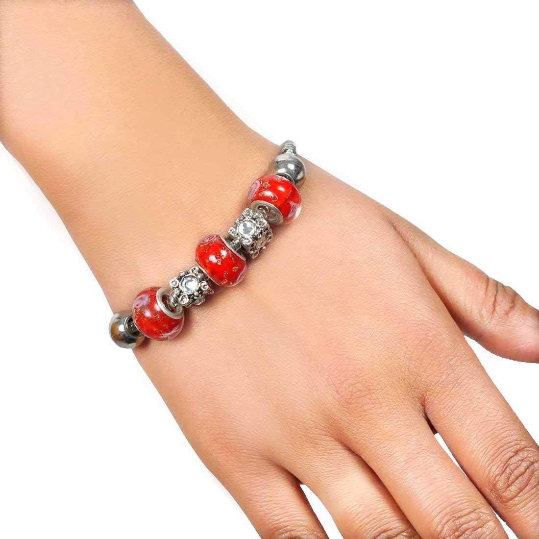Cool Red Pink Contemporary Adjustable Party Size Bracelet Alloy Maayra MY7654