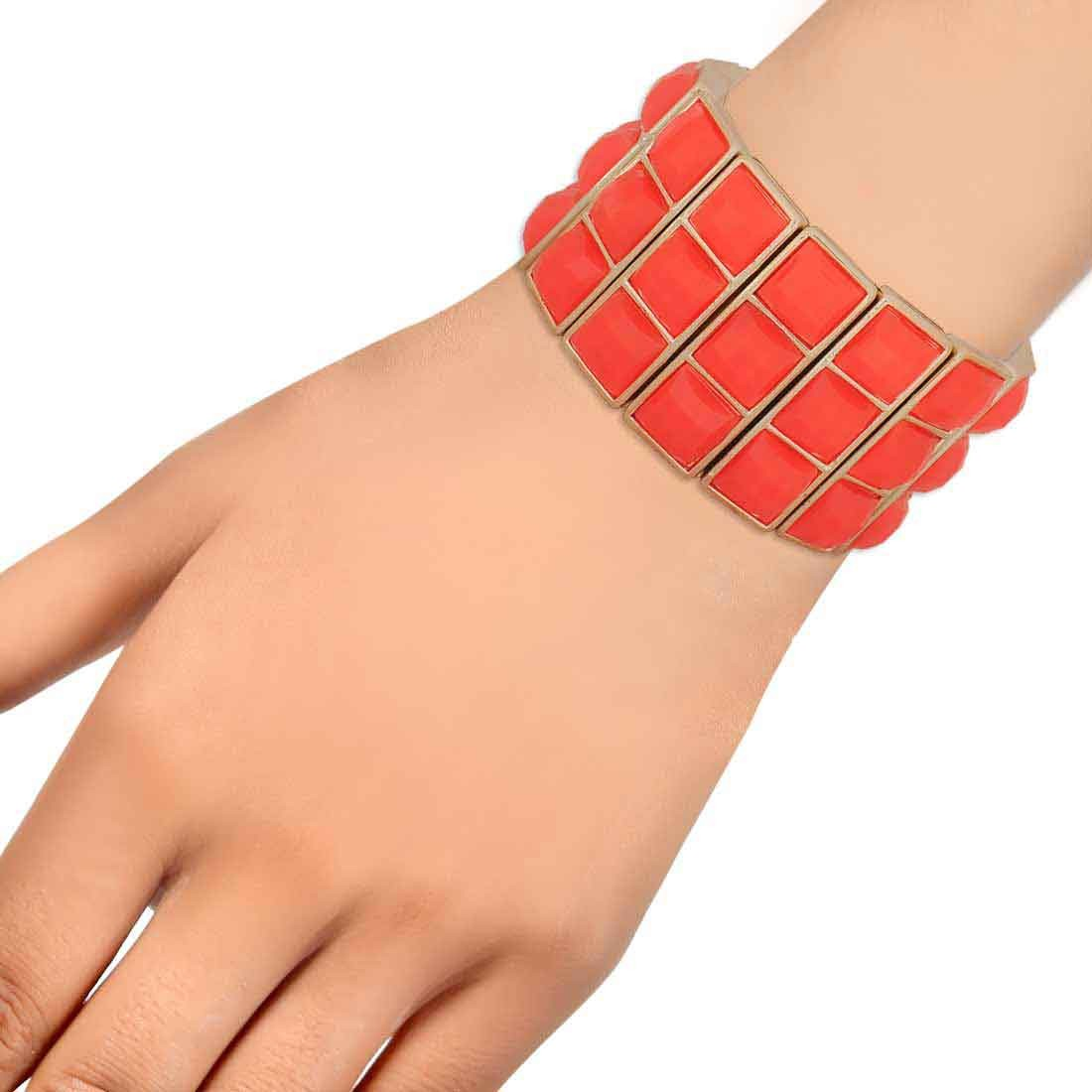 Suave Orange Contemporary Adjustable Get-together Bracelet Alloy Maayra MY7656