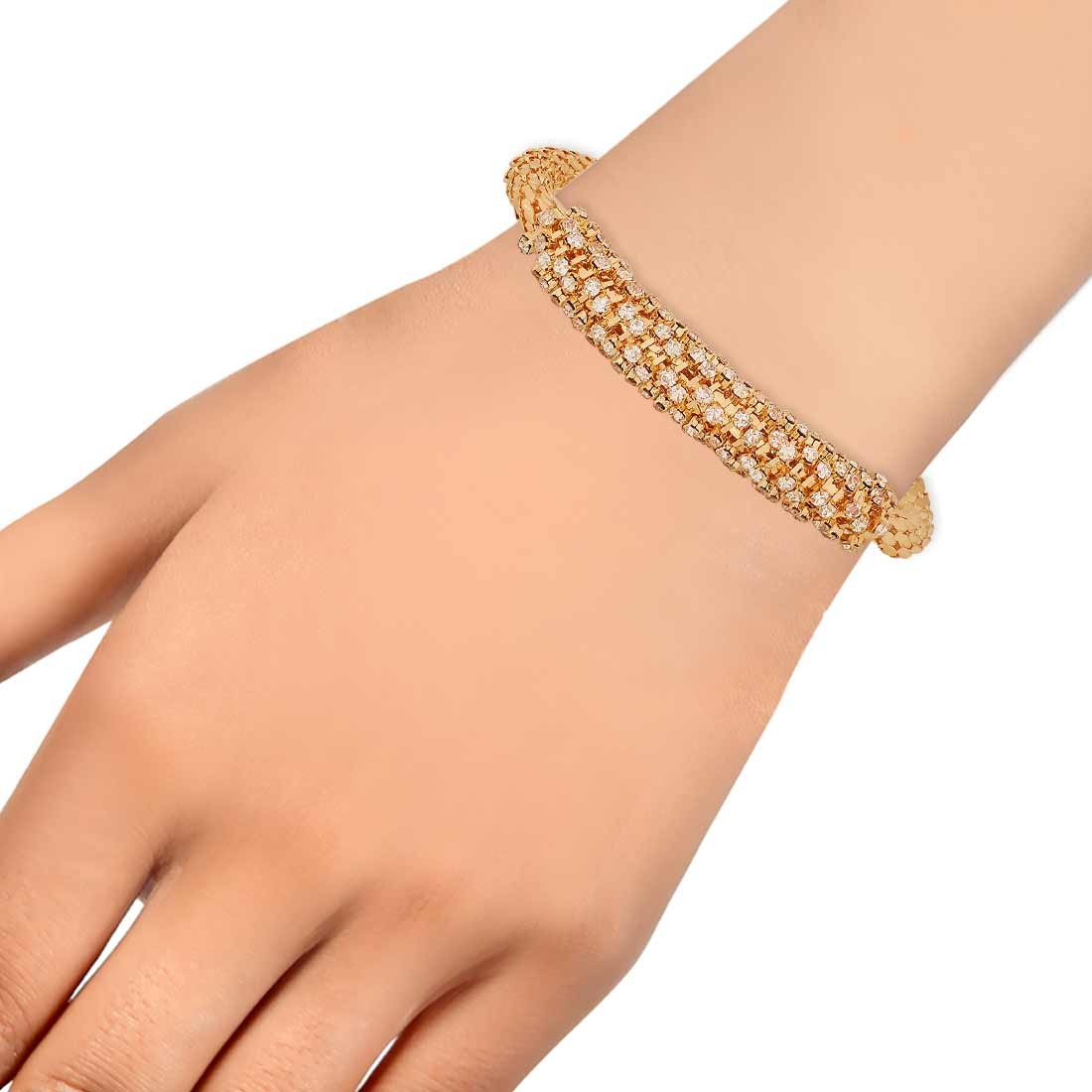 Charming Gold Stone Crystals Adjustable Cocktail Bracelet Alloy Maayra MY7661