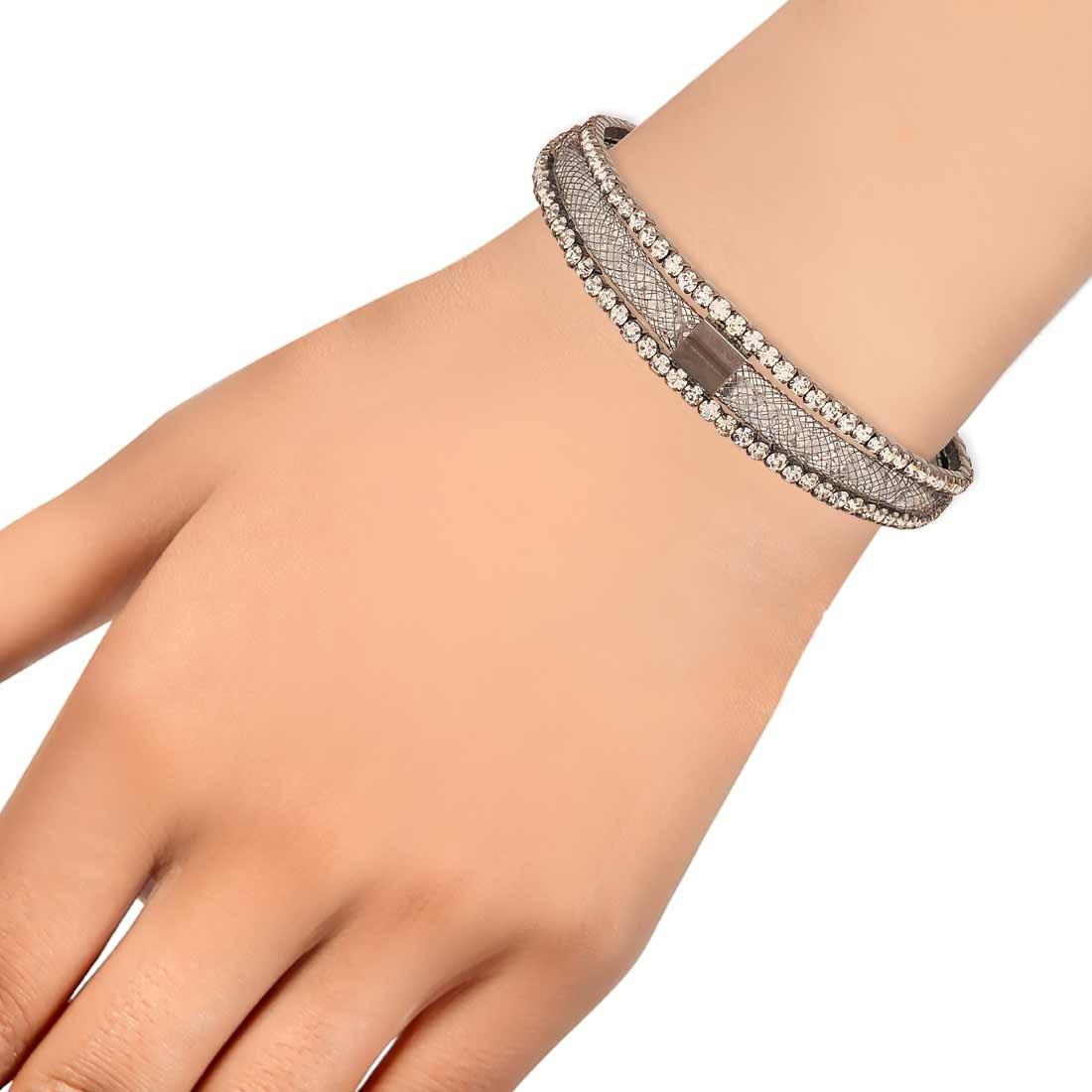 Modern Silver Jaali Work Adjustable Casualwear Bracelet Alloy Maayra MY7664