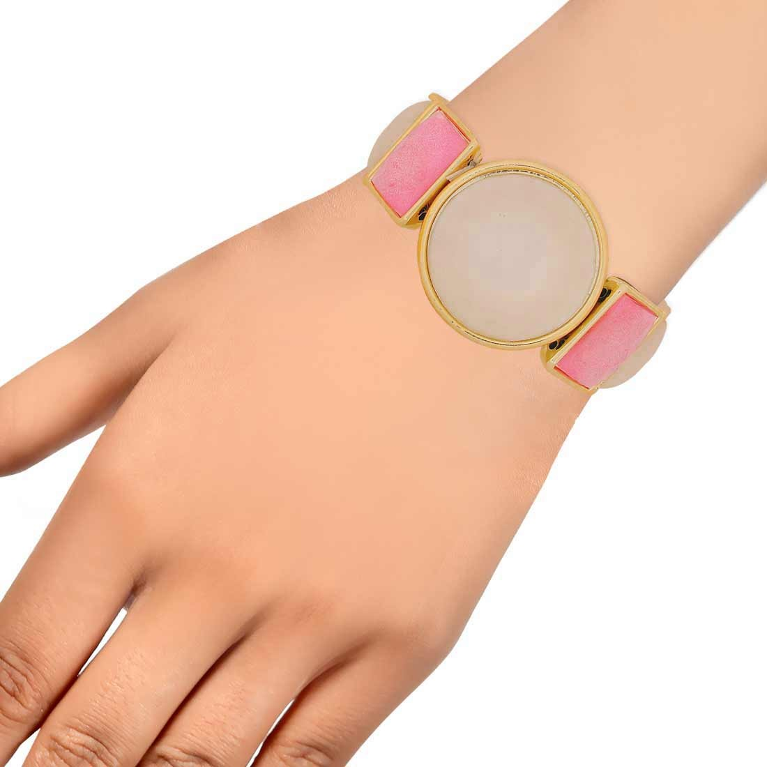 Simple Pink Off-White Designer Adjustable Reunion Bracelet Alloy Maayra MY7669