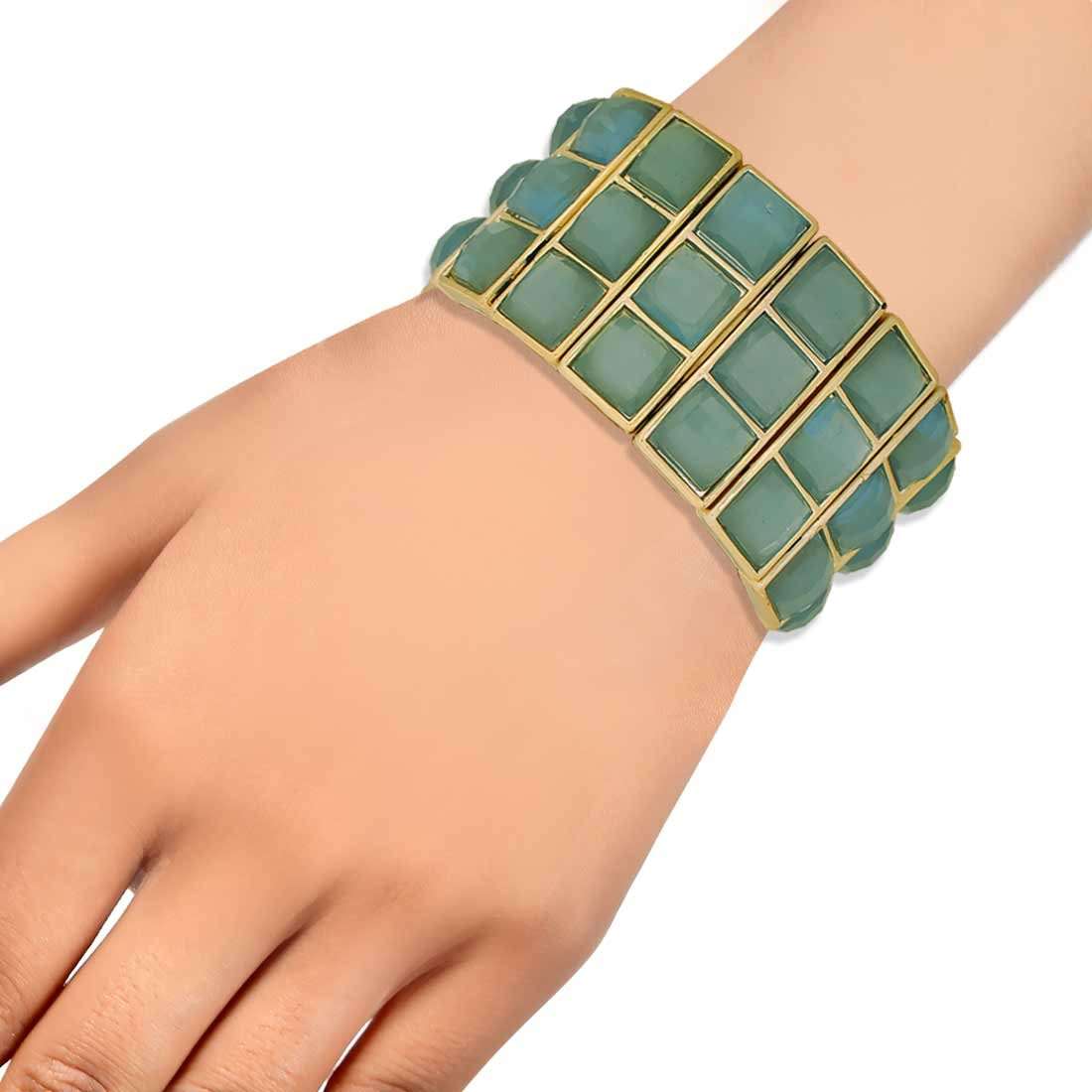 Darling Green Contemporary Adjustable Cocktail Bracelet Alloy Maayra MY7673