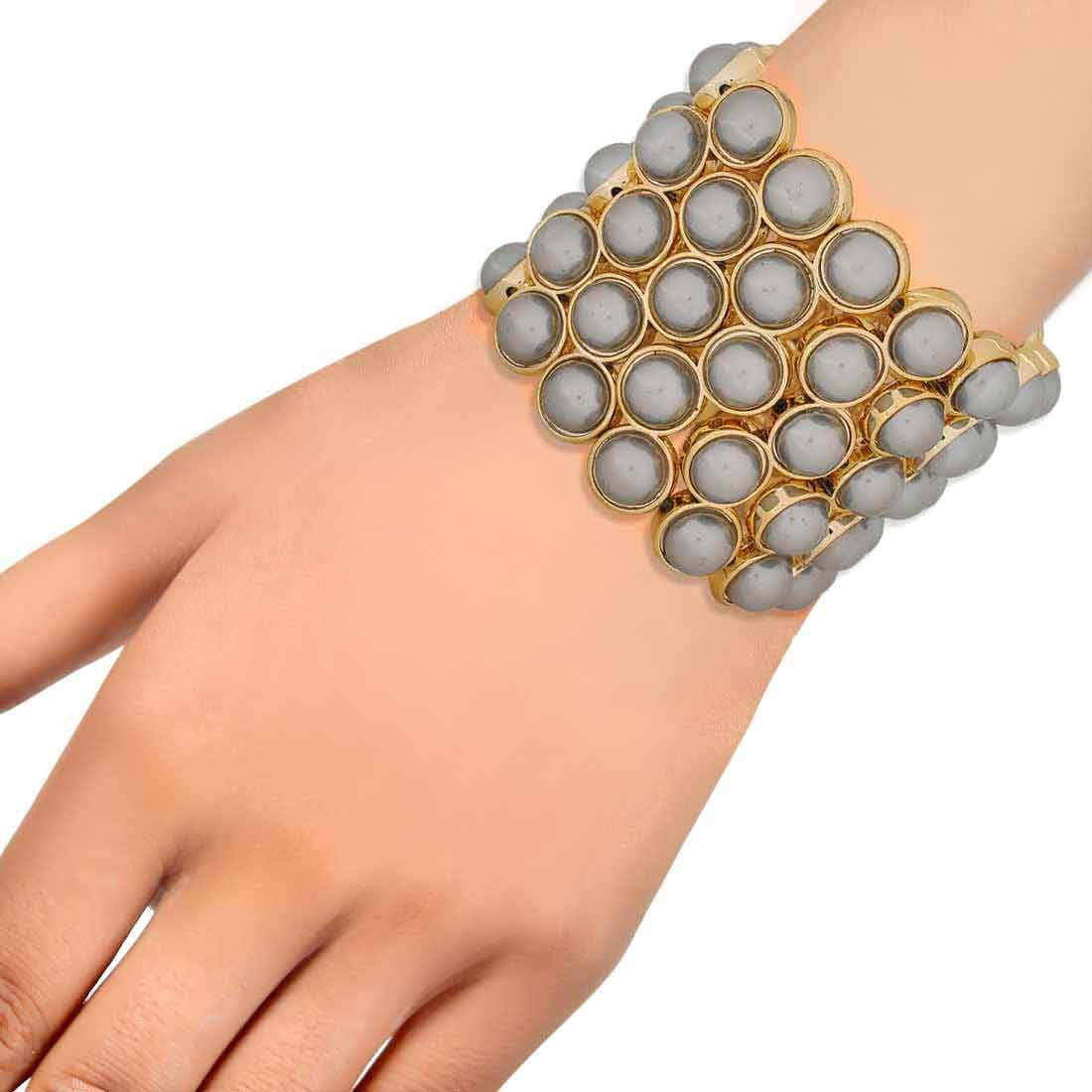 Plush Grey Contemporary Adjustable Casualwear Size Bracelet Alloy Maayra MY7676