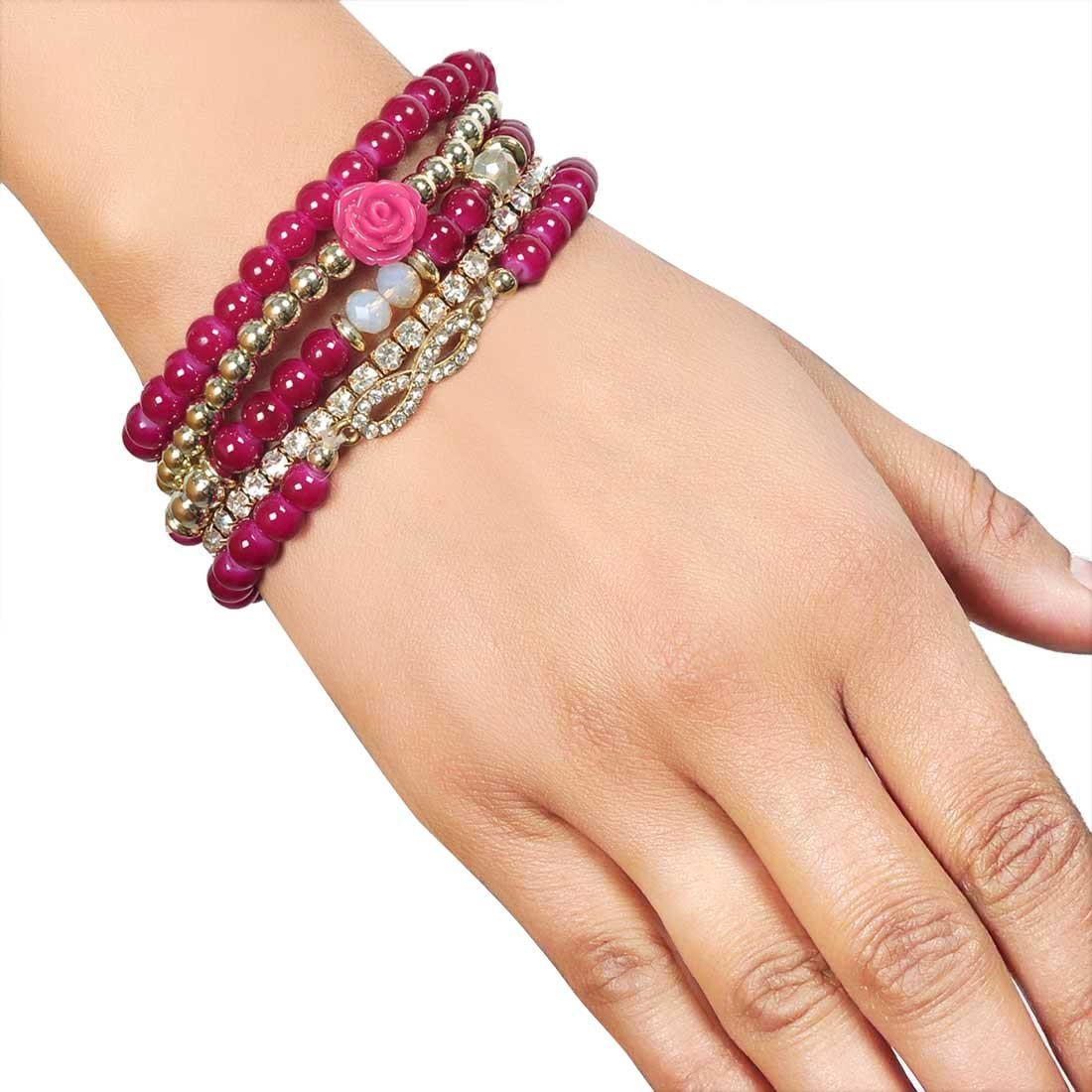 Classy Pink Contemporary Adjustable College Size Bracelet Alloy Maayra MY7677