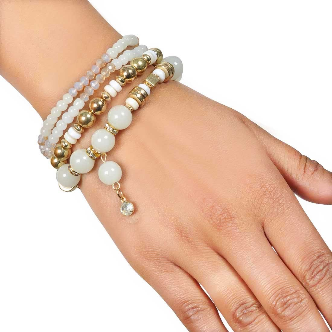 Unique White Gold Designer Adjustable Get-together Bracelet Alloy Maayra MY7680