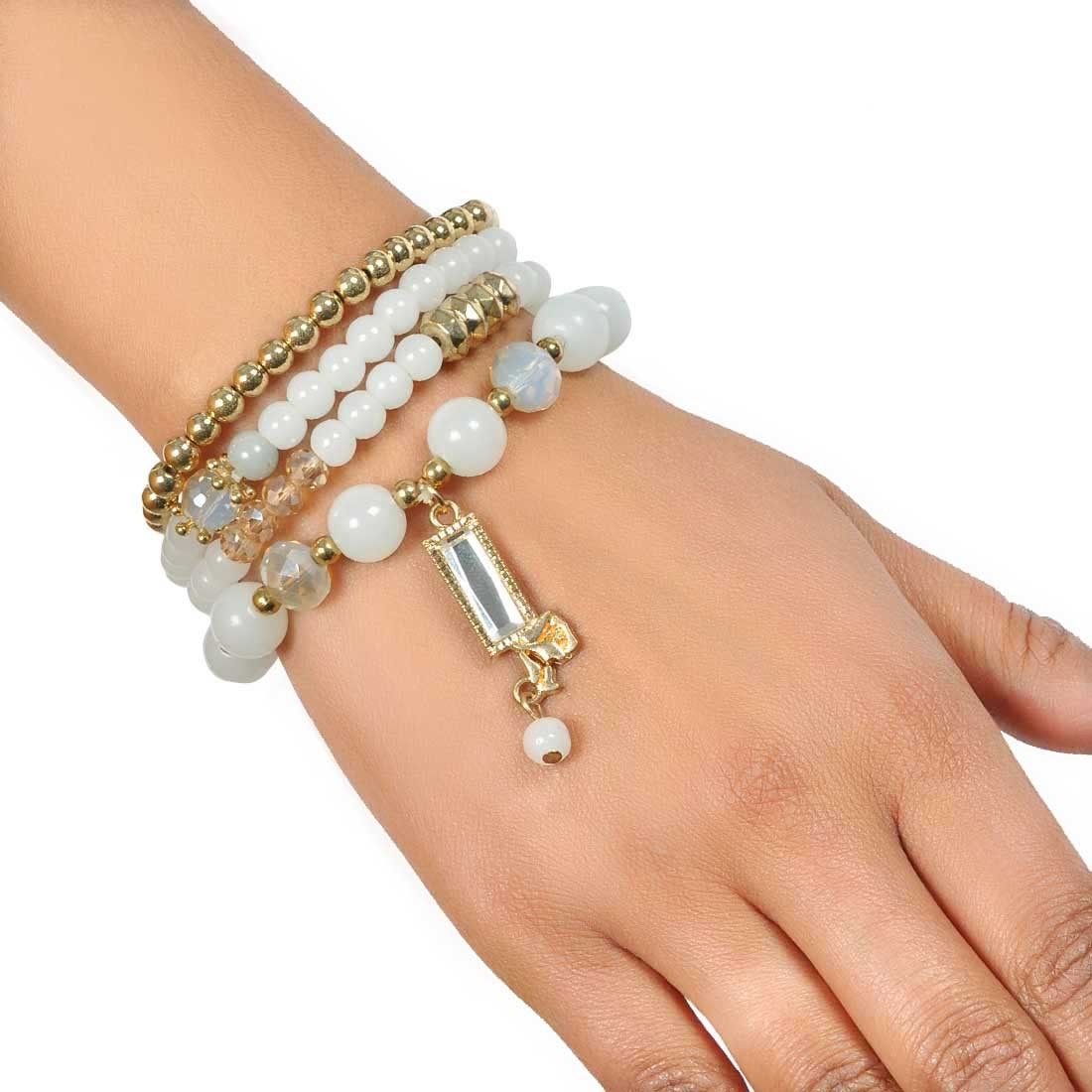 Fab White Gold Contemporary Adjustable Party Size Bracelet Alloy Maayra MY7684