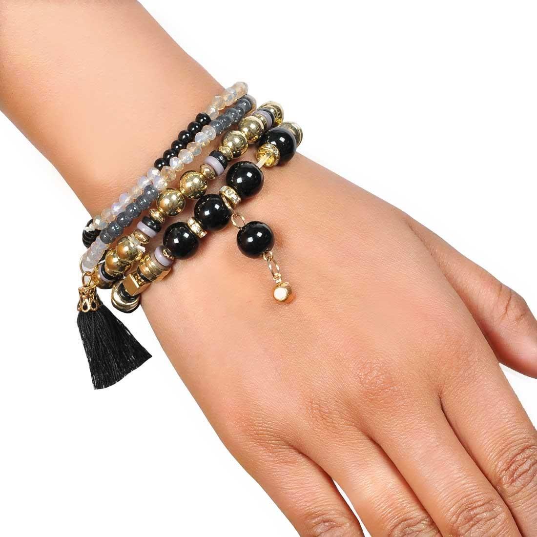 Stunning Black Gold Designer Adjustable Reunion Bracelet Alloy Maayra MY7687