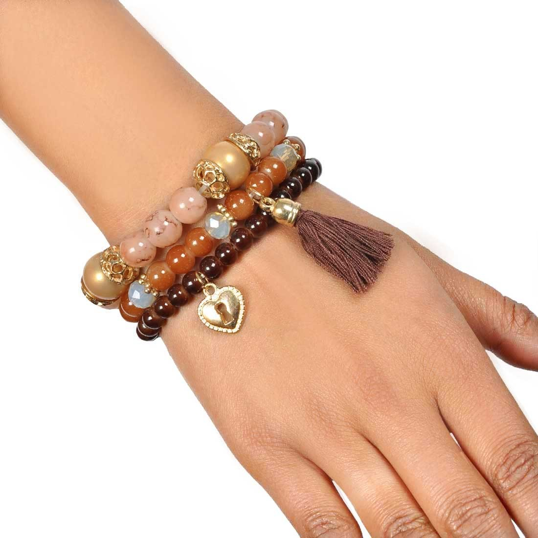 Pretty Multicolor Contemporary Adjustable College Bracelet Alloy Maayra MY7689