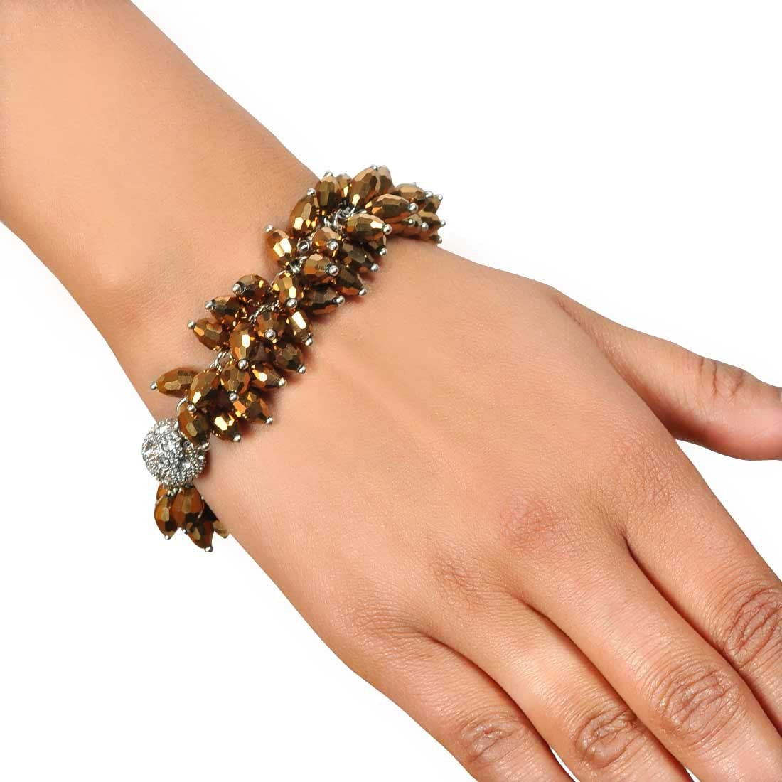 Smart Brown Contemporary Adjustable Party Size Bracelet Alloy Maayra MY7690