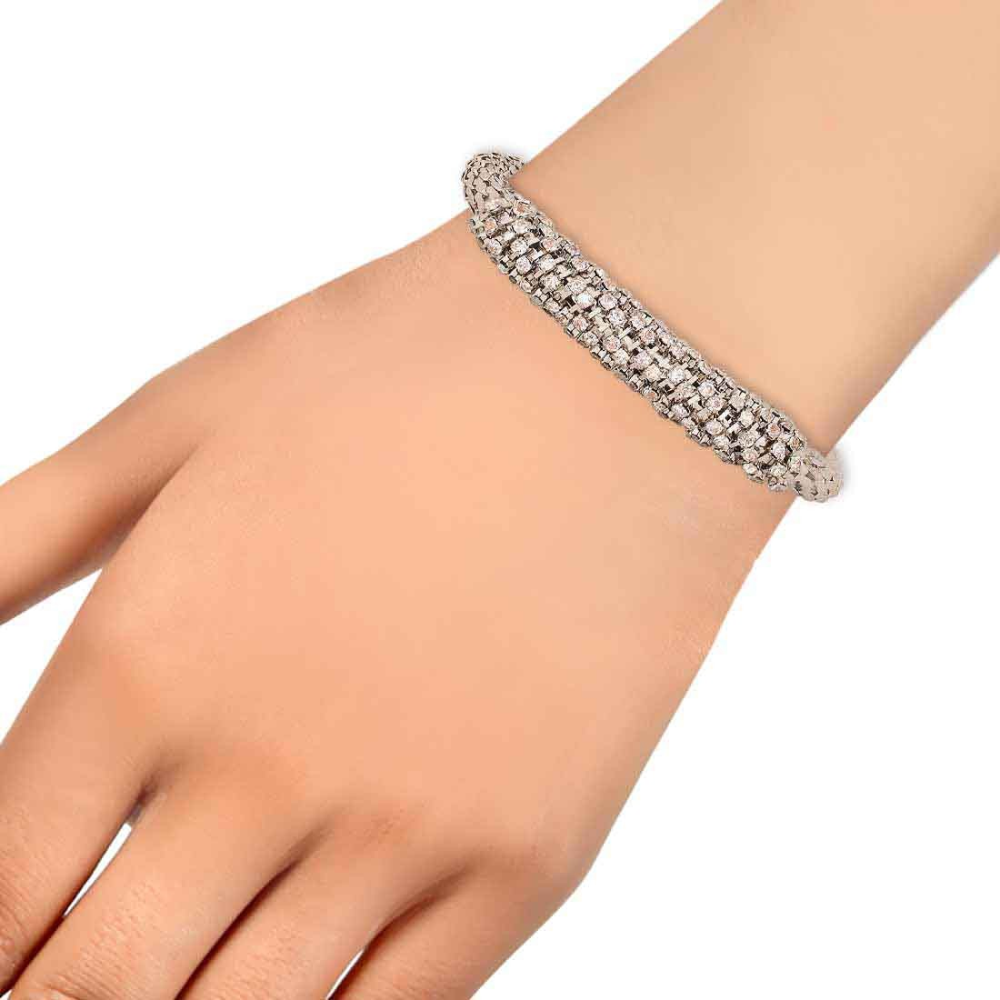 Beautiful Silver Stone Crystals Adjustable College Bracelet Alloy Maayra MY7701