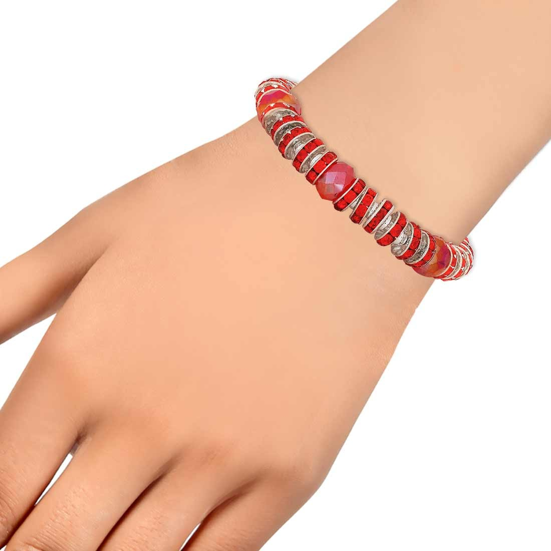 Exquisite Red Silver Designer Adjustable Cocktail Bracelet Alloy Maayra MY7703
