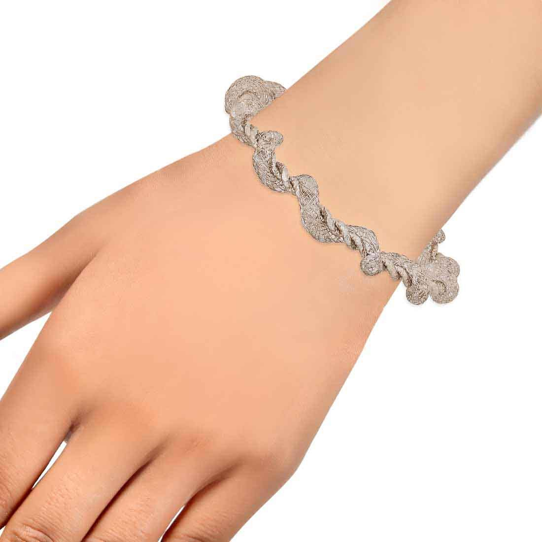 Cool Silver Jaali Work Adjustable College Size Cuff Alloy Maayra MY7707