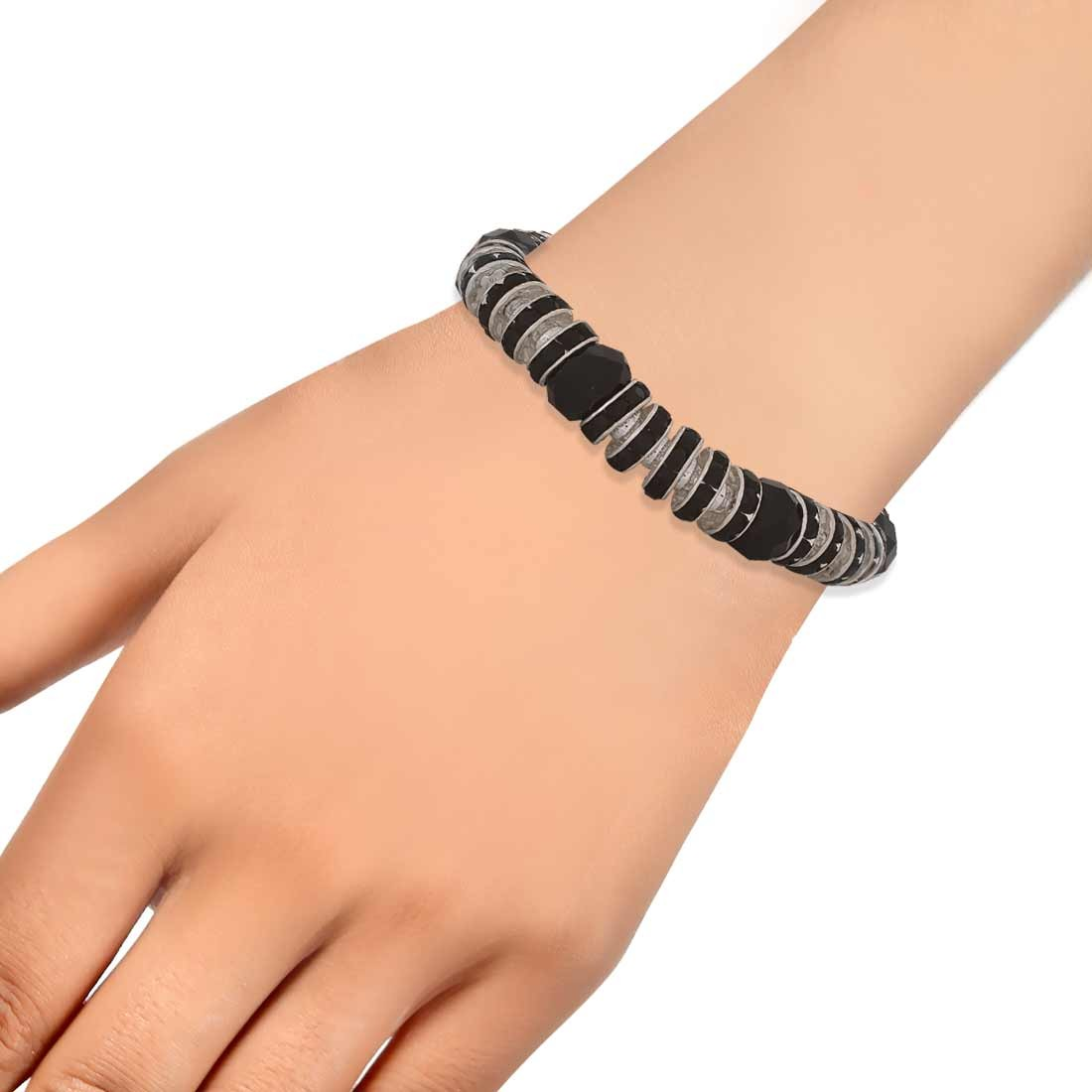 Classy Black Silver Contemporary Adjustable Party Bracelet Alloy Maayra MY7708